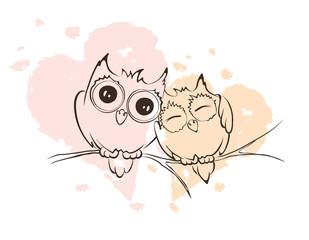 Illustration - love owls on a branch