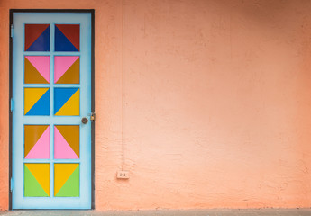 old aged colorful of door and wall