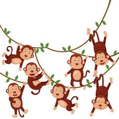 Illustrator of monkeys funny cartoon