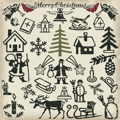 Christmas collection of icons and symbols. Vector.
