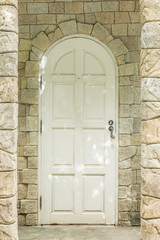 old entrance door and stone wall architect design