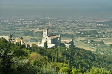 Paesaggio con la basilica di San Francesco d'Assisi