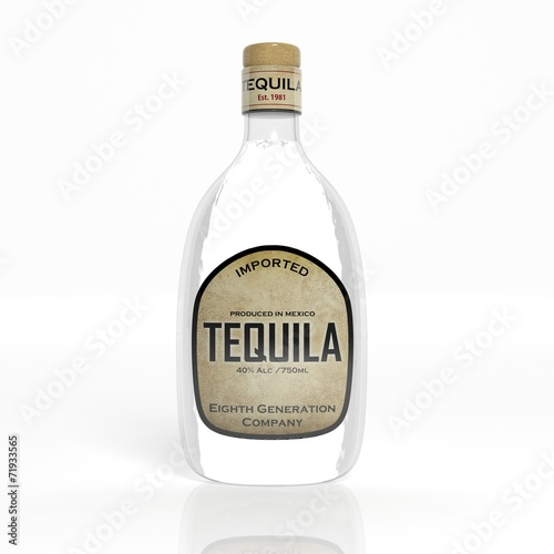 3D tequila transparent glass bottle isolated on white - 71933565