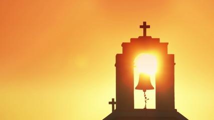 Sunrise behind church. Time lapse.