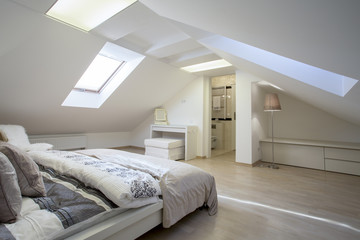 Bedroom connected with bathroom in the attic