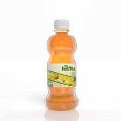 3D ice tea transparent plastic bottle isolated on white