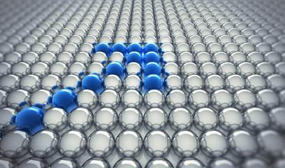 Blaue Kugeln in Formation