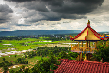 Rainy season view of mountains from high point. Doi Suthep 2, Kh