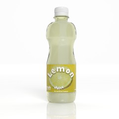 3D lemon juice transparent plastic bottle isolated on white