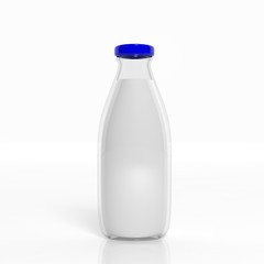3D milk transparent glass bottle isolated on white