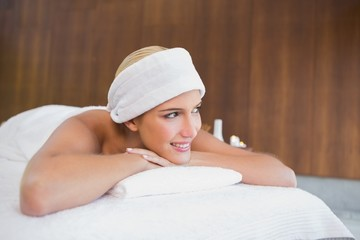Beautiful woman with towel wrapped on head