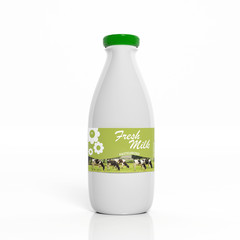 3D milk white plastic bottle isolated on white