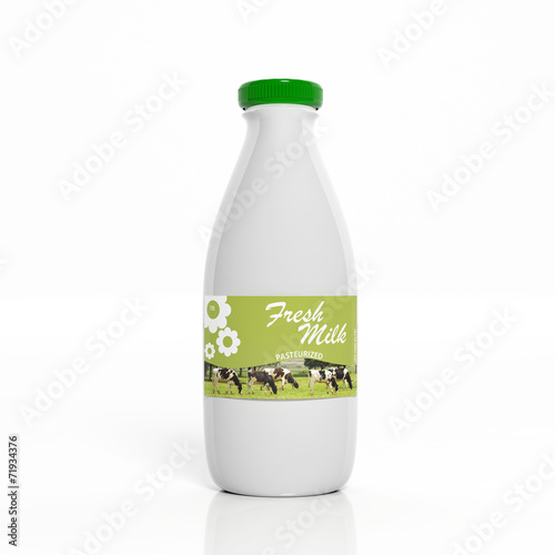 canvas print picture 3D milk white plastic bottle isolated on white