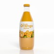 canvas print picture - 3D orange juice transparent glass bottle isolated on white