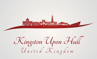Kingston Upon Hull skyline in red