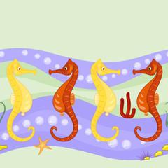 Seahorses seamless texture