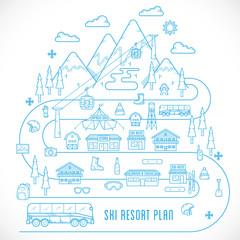 Line Style Vector Ski Resort Vacation Illustration
