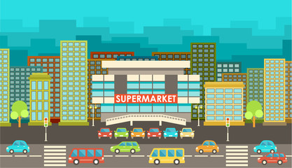 Supermarket. City in the style of flat design.