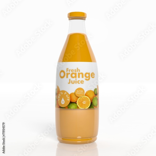 canvas print picture 3D orange juice transparent glass bottle isolated on white