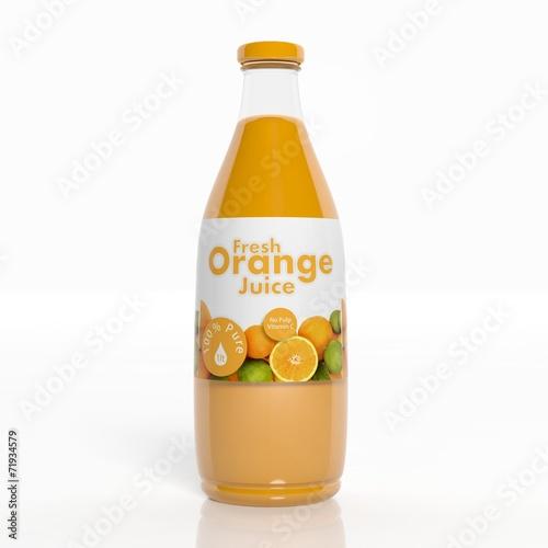 Leinwandbild Motiv 3D orange juice transparent glass bottle isolated on white