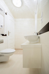 View of white bathroom in modern house