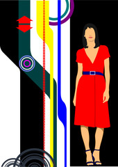 Abstract hi-tech background with businesswoman image. Vector ill