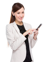 Businesswoman touch on cell phone