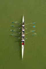 Four women rowing on Danube river