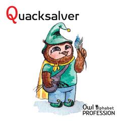Alphabet professions Owl Letter Q - Quacksalver character Vector