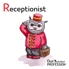 Alphabet professions Owl Letter R - Receptionist character