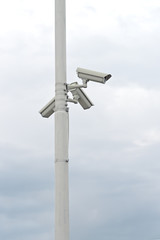 Security cameras on the post
