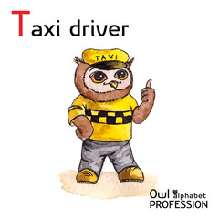 Alphabet professions Owl Letter T - Taxi driver character Vector