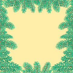 Frame of the branches of spruce Christmas tree vector