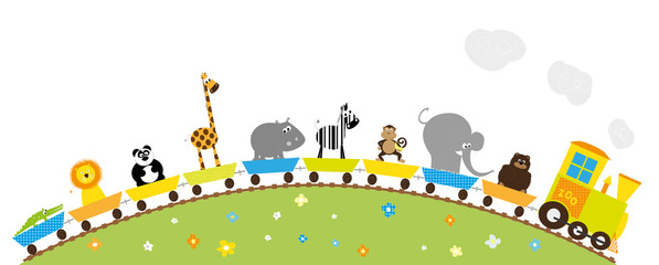 long zoo train with wild animals- vectors for children