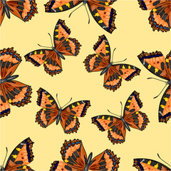 Seamless texture flight Butterfly Vanessa cardui vector