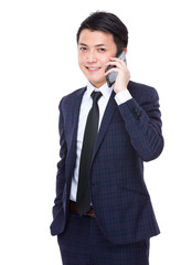 Businessman talk to cell phone