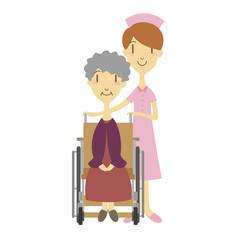 車いすのおばあちゃんと看護婦さん