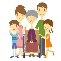 車いすのおばあちゃんと家族