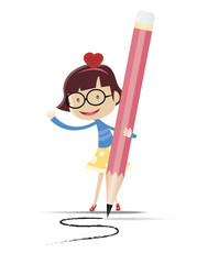 A cute girl writing by using the big pencil