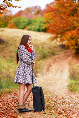 Beautiful girl waiting on a country road with her suitcase.