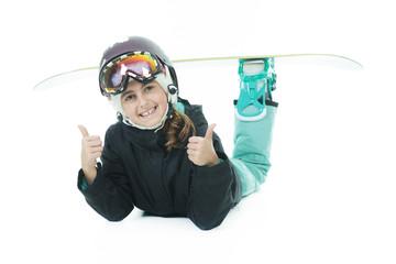 Snowboard girl positive