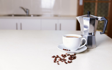 Kitchen tabletop and morning coffee