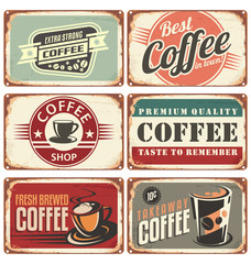 Set of vintage coffee tin signs