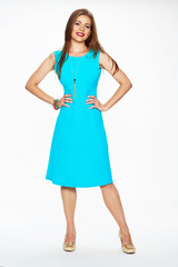 young model fashion look in blue dress