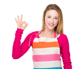 Housewife with ok sign
