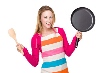 Housewife hold with woodem spatula and pan