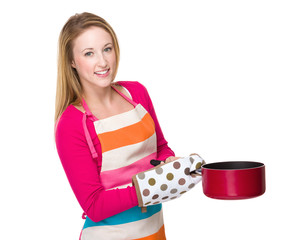 Housewife with saucepan