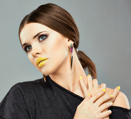 Close up beauty face portrait , lips , nails.