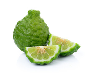 kaffir Lime or Bergamot fruit on white background