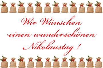 kleine Jutesäcke mit Nikolauswünsche